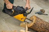 pic of chainsaw  - Making a birdhouse from alder logs with chainsaw - JPG