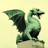 stock photo of guardian  - Famous Dragon statue on Dragon bridge  - JPG