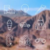 picture of boot camp  - Set of Outline stroke Camping icons on blurred background - JPG