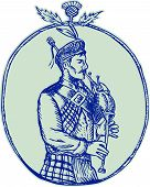 picture of scottish thistle  - Etching engraving handmade style illustration of a scotsman bagpiper playing bagpipes viewed from side set inside oval shape with thistle on top on isolated background - JPG