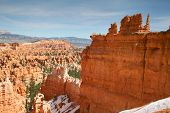 stock photo of hoodoo  - Dramatic Hoodoos within the cathedral down from the Rim Trail Bryce Canyon Utah - JPG