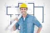 picture of blueprints  - Confident architect holding rolled blueprint against blueprint - JPG