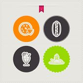 image of fish icon  - Drink & food icons set from left to right top to bottom - 