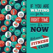 image of step aerobics  - Fitness Icons background with typography - JPG