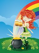 picture of leprechaun  - Pretty leprechaun girl on grass field St - JPG