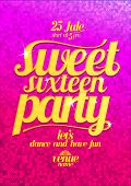 image of sweet sixteen  - Sweet sixteen party fashion pink poster with gold letters and sparkles - JPG