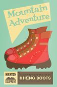 stock photo of boot camp  - Mountain Climbing Poster in Retro Style - JPG