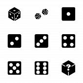 stock photo of dice  - Vector dice icon set on white background - JPG