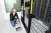 picture of racks  - It engineer or technician monitors and solving problems with blade servers in data rack - JPG