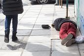 picture of begging  - THESSALONIKI GREECE MARCH 28 2015 - JPG