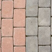 picture of paving  - Tiled with paving stone bricks path - JPG