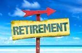 image of retired  - Retirement sign with beach background - JPG