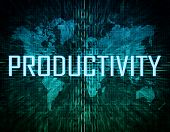 stock photo of productivity  - Productivity text concept on green digital world map background - JPG