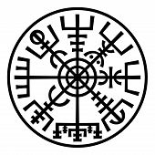 image of wolfsangel  - �Vegvisir�. The Magic Navigation Compass of Vikings. Runescript from Ancient Medieval Icelandic Manuscript Book. Talisman for luck road and good voyage. (In The Ring). - JPG