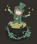 picture of pot gold  - Saint Patrick  playing with golden coins sitting on a pot of gold - JPG