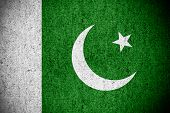 picture of pakistani flag  - flag of Pakistan or Pakistani banner on rough pattern texture - JPG