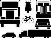 stock photo of dragster  - set of seven city transportation set vector - JPG