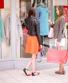 Two beautiful women with shopping bags window shopping in mall poster