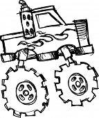 stock photo of monster-truck  - sketch of Monster Truck Vector Illustration - JPG
