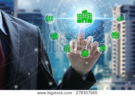 poster of Finger Touch With Property Investment Icons Over The Network Connection On Property Background, Prop