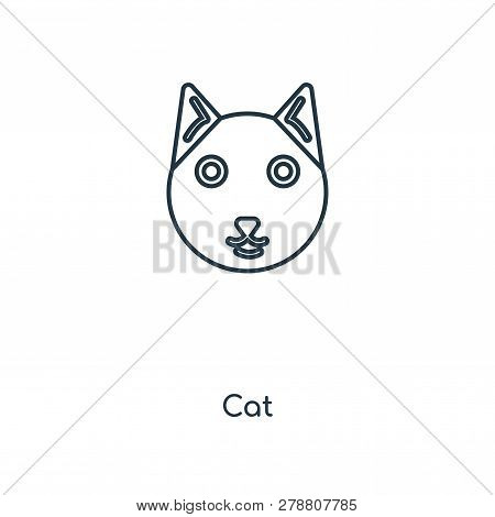poster of Cat Icon In Trendy Design Style. Cat Icon Isolated On White Background. Cat Vector Icon Simple And M
