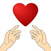 Concept Of Charity And Donation. Hands Give Love. Give And Share Your Love To People. Valentines Day poster