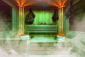 Interior Of Finnish Sauna, Classic Wooden Sauna, Finnish Bathroom, Relax In Hot Sauna With Steam poster