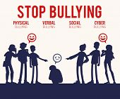 Vector Bullying Of Young Man Sitting Alone Flat poster