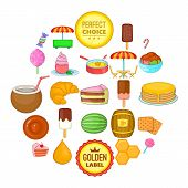 Tasty Pastry Icons Set. Cartoon Set Of 25 Tasty Pastry Vector Icons For Web Isolated On White Backgr poster