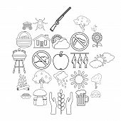 Countryside Icons Set. Outline Set Of 25 Countryside Vector Icons For Web Isolated On White Backgrou poster