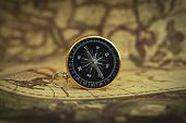 Compass On Blur Vintage Map Background, Retro Color Tone, Direction Journey Planning Concept, Blank  poster