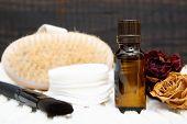 Aromatic Botanical Cosmetics. Dried Herbs Flowers Mixture, Body Scrub Brush, Oils. Holistic Herbal D poster