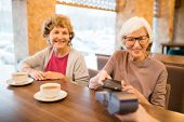 Cheerful Modern Senior Ladies Paying For Tea With Smartphone: Smiling Gray-haired Lady Sitting At Ta poster