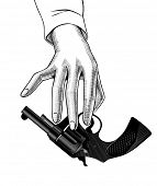 Female hand holding in the fingers a black gun. Detective and killer retro concept. Vintage engravin poster