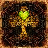Tree Of Life Symbol On Structured Ornamental Background With Heart Shape, Flower Of Life Pattern, Yg poster