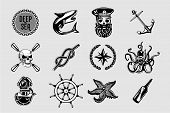 Nauitical Icons Set. Vintage Marine Signs Collection With Sailing Elements. Sailor Tattoo Vector Des poster