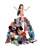 Nothing To Wear Concept, Young Attractive Stressed Woman Seating In A Pile Of Messy Clothes Gotten O poster