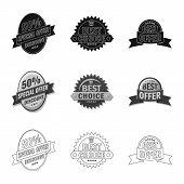 Vector Illustration Of Emblem And Badge Symbol. Set Of Emblem And Sticker Stock Vector Illustration. poster