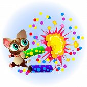 Cartoon Sweet Little Kitty With Bright Firecrackers poster