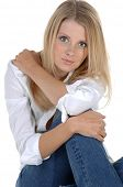 image of button down blouse  - Casual head shot of a beautiful blonde in jeans and a white button down blouse - JPG