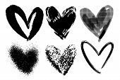 Vector Collections Of Hand Drawn Grunge Valentine Hearts Isolated On Transparent Background. Heart S poster