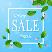 Spring Sale Banner Template With Flowers On Blue Background. Card For Spring Season With Flowers. Pr poster