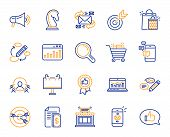 Marketing, Research Line Icons. Set Of Strategy Target, Feedback, Advertisement Campaign Icons. Rese poster