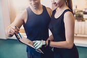 Trainer Writes A Fitness Program Training The Girl. The Program Of Physical Training For Effective R poster