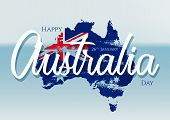 Happy Australia Day With Grunge Flag On Map Of Australia On A Blurred Ocean Background. Vector Illus poster