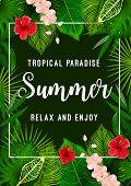 Summer Tropical Palm Leaf And Flower Poster. Exotic Floral Frame With Green Foliage Of Jungle Plant  poster