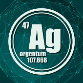 Silver Chemical Element. Sign With Atomic Number And Atomic Weight. Chemical Element Of Periodic Tab poster