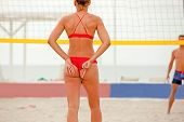 Volleyball Beach Player Is A Female Athlete Volleyball Player Getting Ready To Serve The Ball On The poster