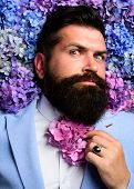 Male With Hydrangea Flowers. Brutal Caucasian Hipster With Moustache. Spring. Womens Day. Mature Hip poster