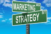 stock photo of marketing strategy  - Business slogans on a road and street signs - JPG